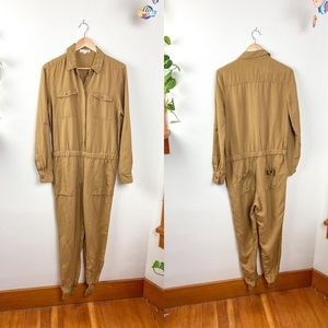 Ann Taylor Loft Jumpsuit Long Sleeve Tan S